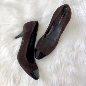Authentic Prada Suede Cap Toe Pumps in Mocha